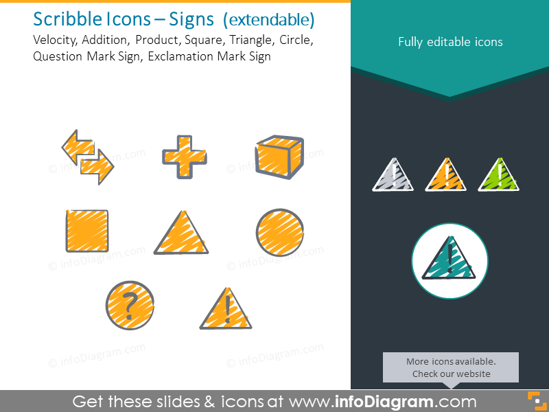 Signs scribble icons: Velocity, Addition, Product, Square, Triangle