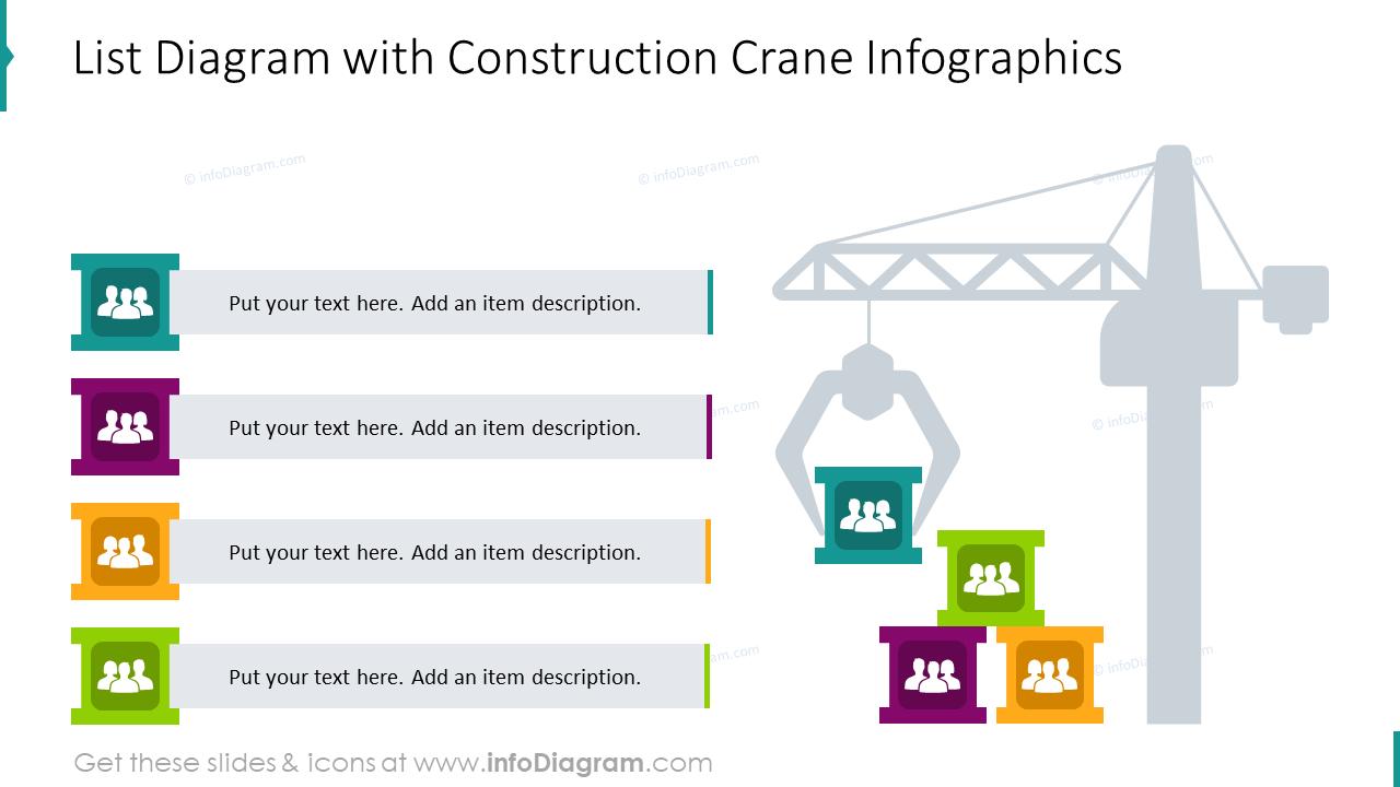 List diagram with construction crane infographics