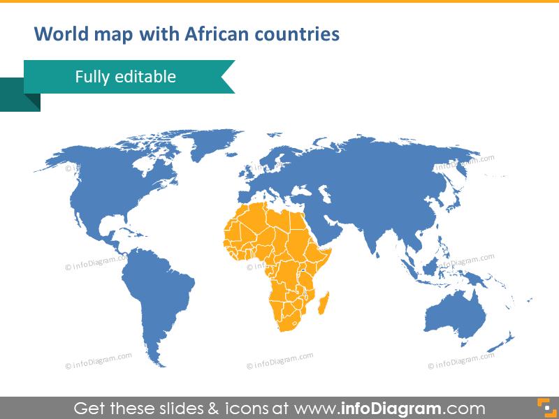 World Map Editable Vector PowerPoint Clipart