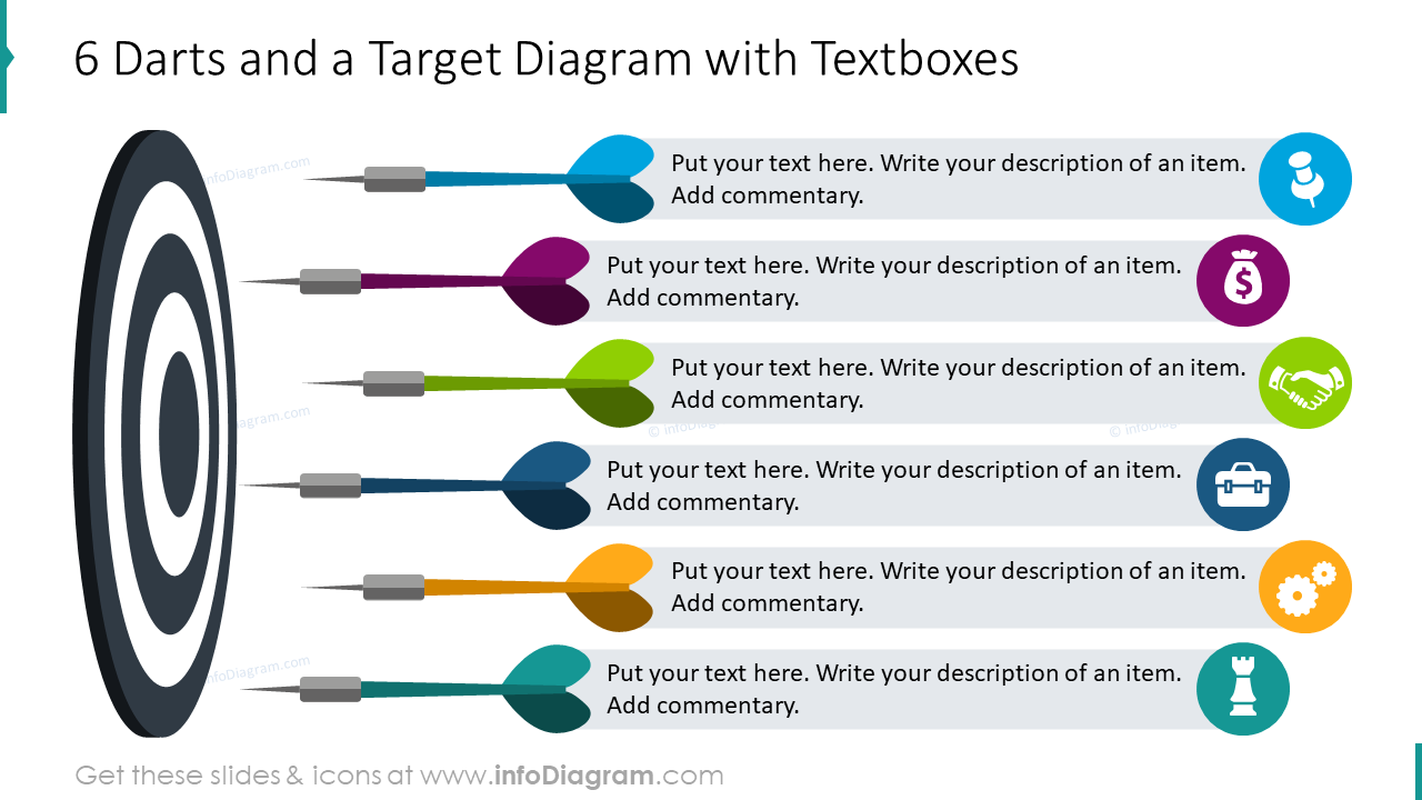 Six darts and a target diagram with textboxes