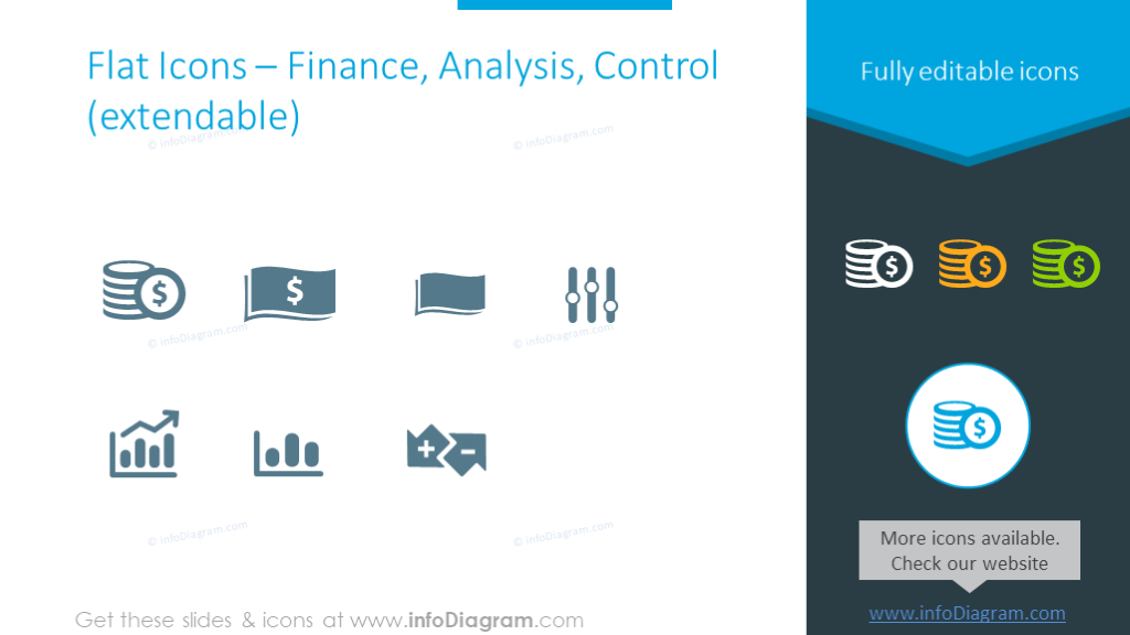 Symbols set to show finance, analysis and control