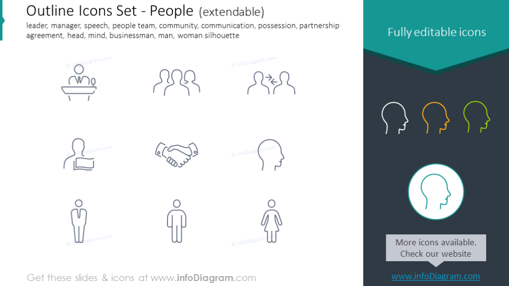 Outline Icons: leader, manager, speech, team, community, possession