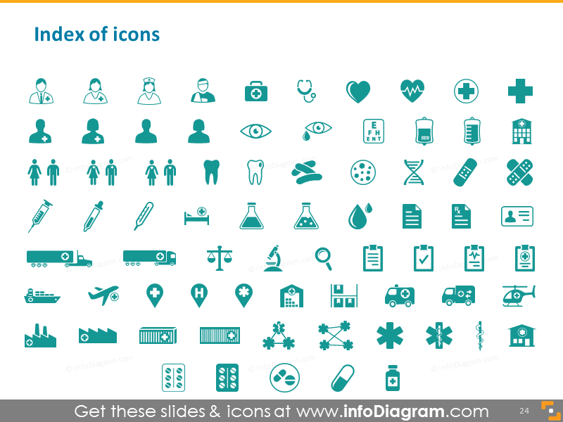 Health care icons index medical pharma