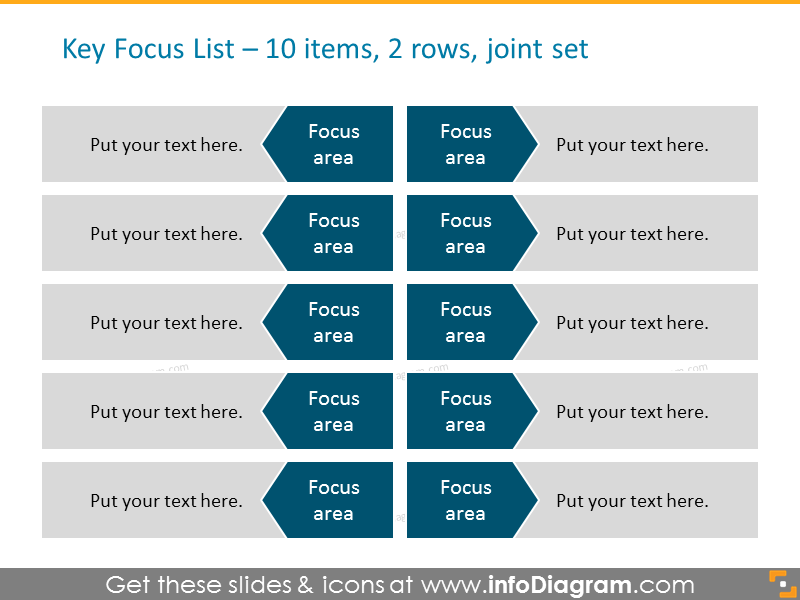 Arrows List for placing 10 items in 2 columns joint set