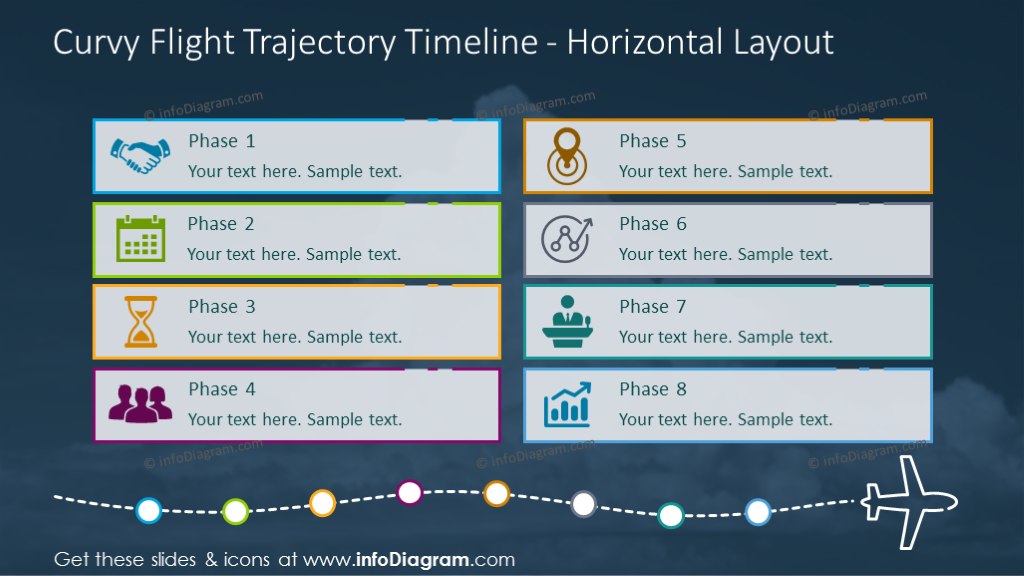 Horizontal timeline illustrated with curvy flight trajectory