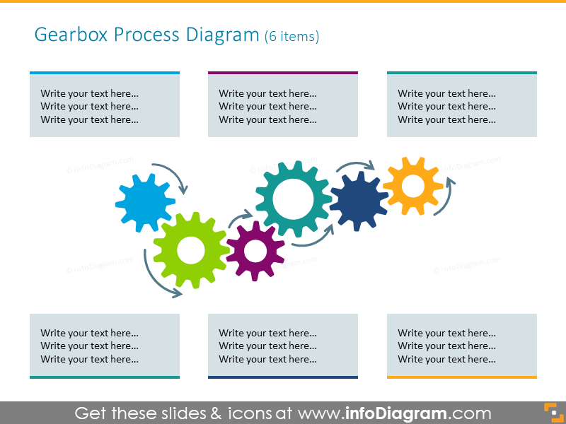 Gears process diagram illustrated with 6 text placeholders