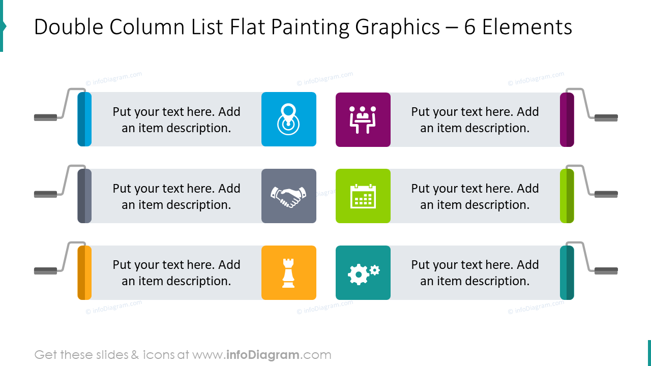 Double column list flat painting graphics for six items