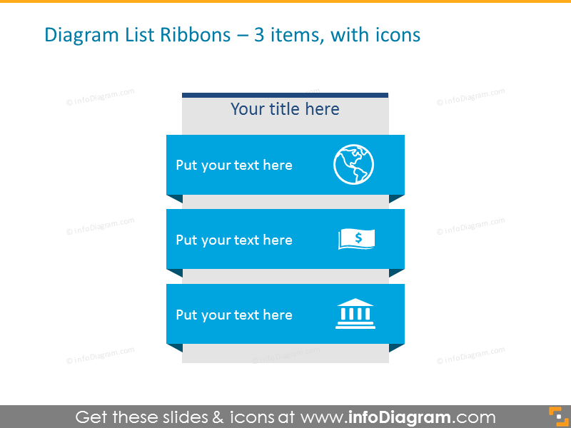 Diagram List Ribbons for 3 items with icons