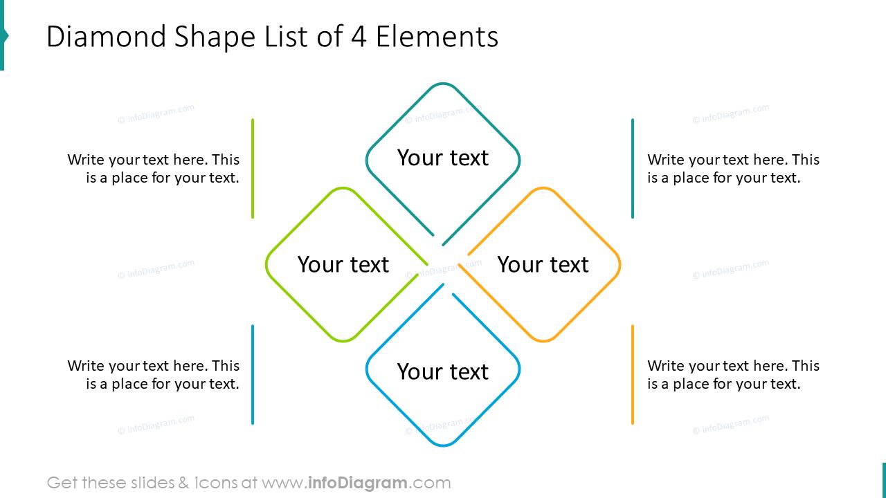 Diamond shape list of four elements