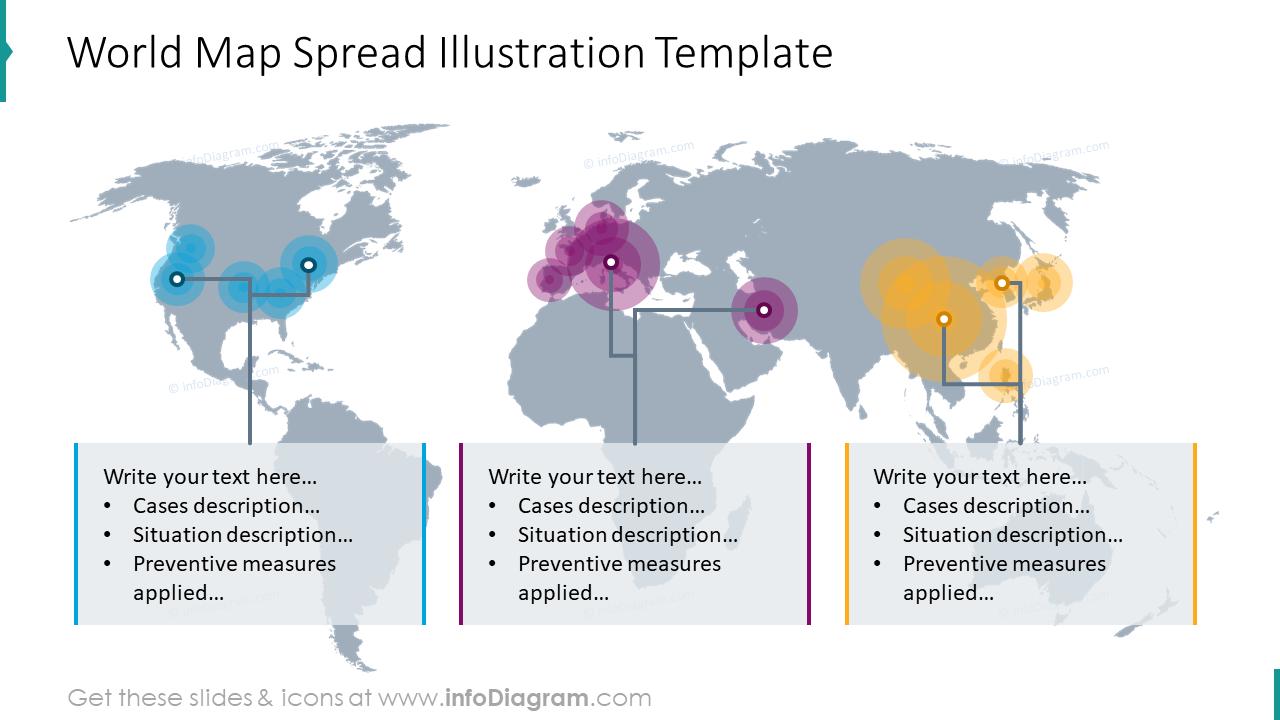 World map spread illustration