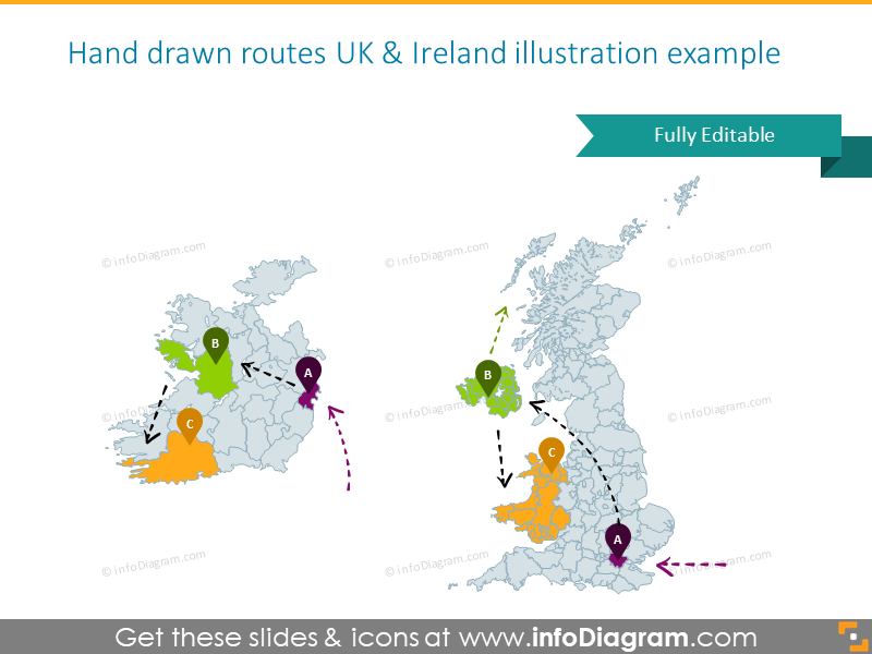 Example of the UK and Ireland maps with hand-drawn routes