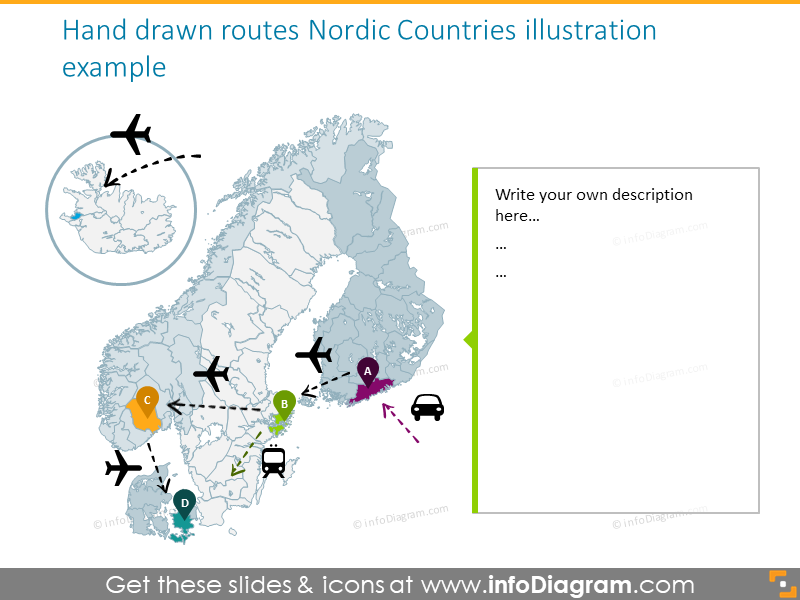 Nordic countries illustrated with hand drawn routes