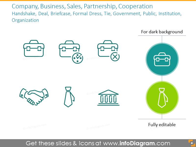 Example of the business icons: sales, partnership, cooperation
