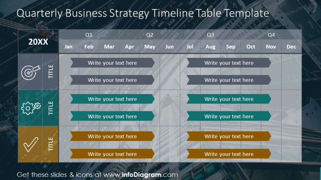 Quarterly business strategy illustrated with timeline table