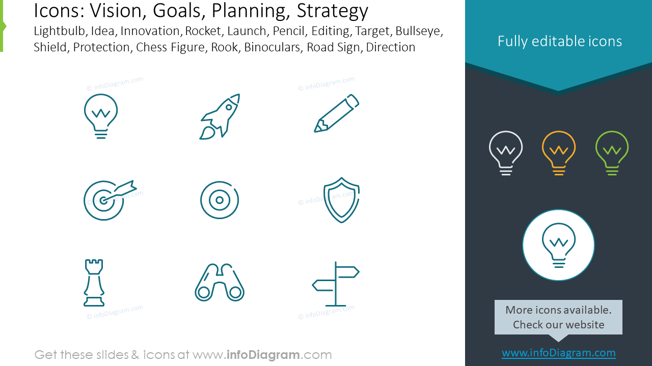 Icons to illustrate Vision and Goals, Planning and Strategy