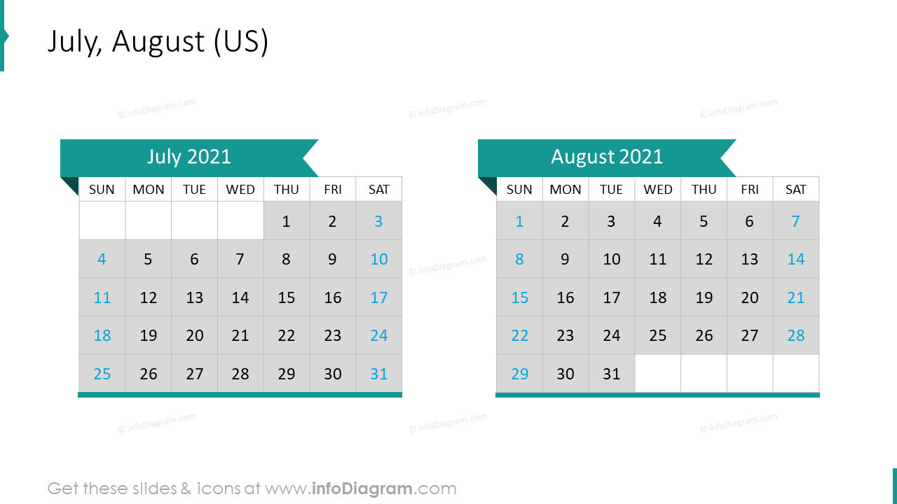 July August 2020 US Calendar