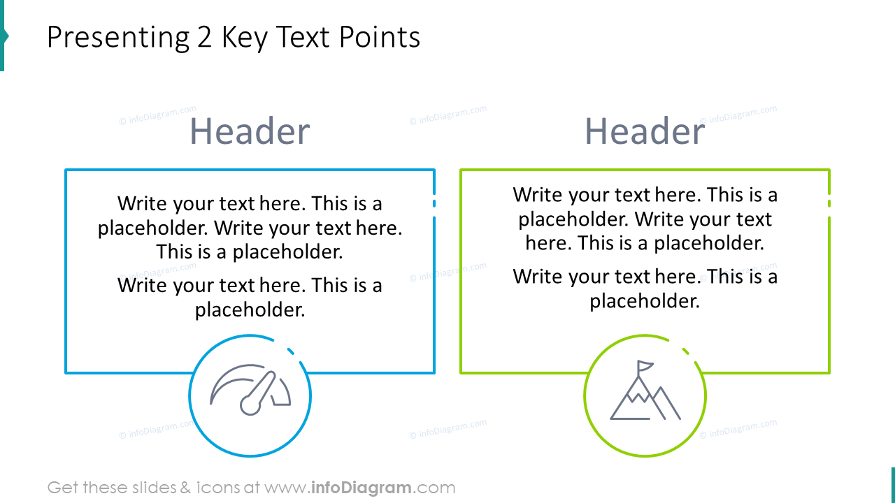 Presenting two key text points slide