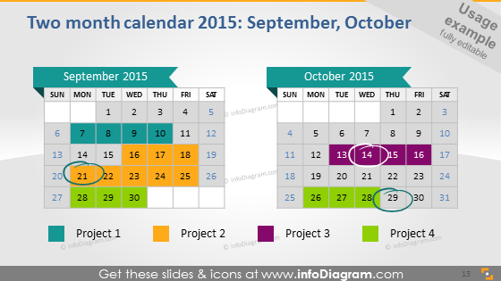 September October 2015 calendars ppt