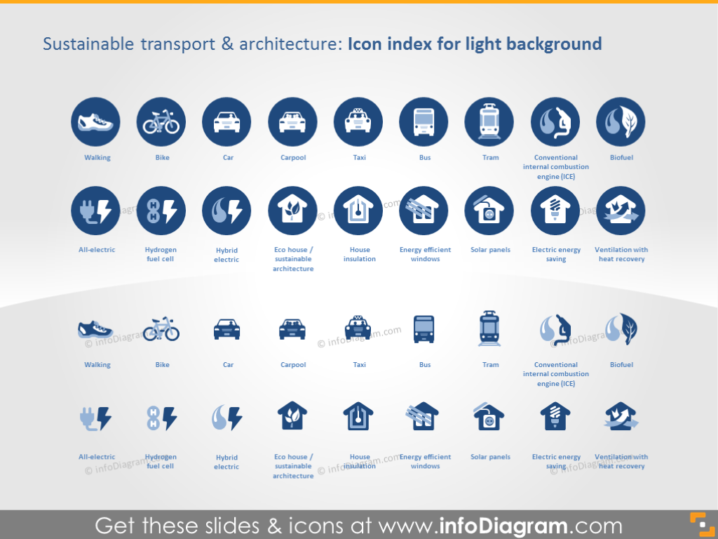 Icon Index on Light Background: Sustainable Transport and Architecture