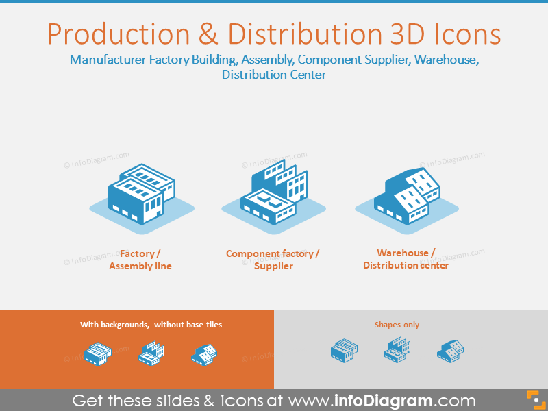 Production and Distribution 3D Icons