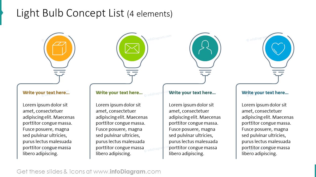 Light bulb concept list for 4 items