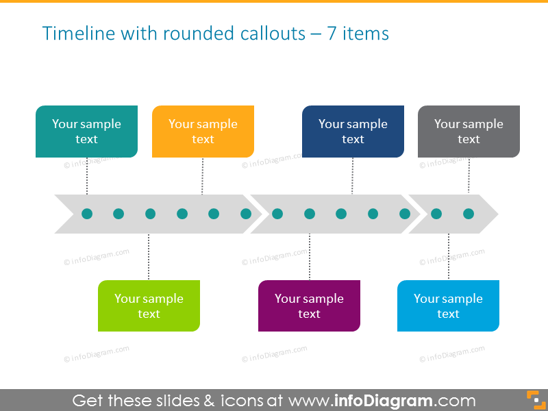 project timeline template with line and textboxes