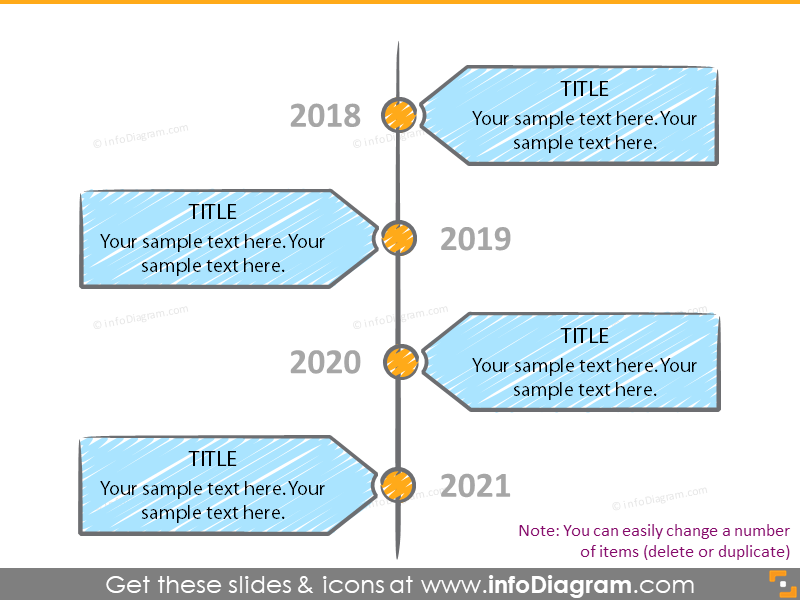 hand drawn time line powerpoint sketch shape
