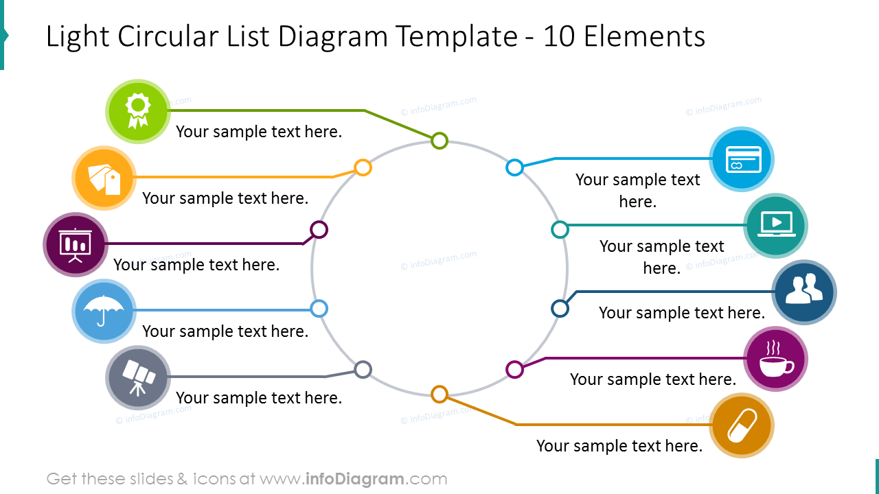 10 elements light circular list graphics with colourful flat icons