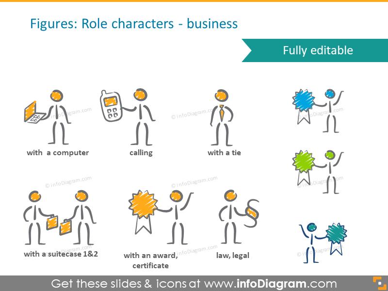 avatar scribble handwritten business roles pictograms ppt clip art