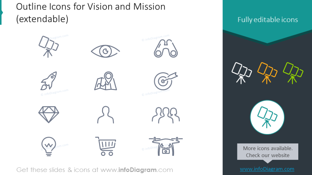 Outline vision and missions icons set