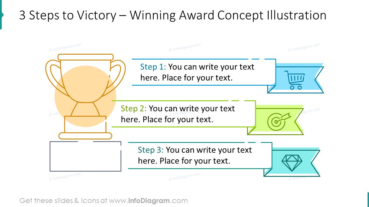 Three steps to victory: winning award concept illustration