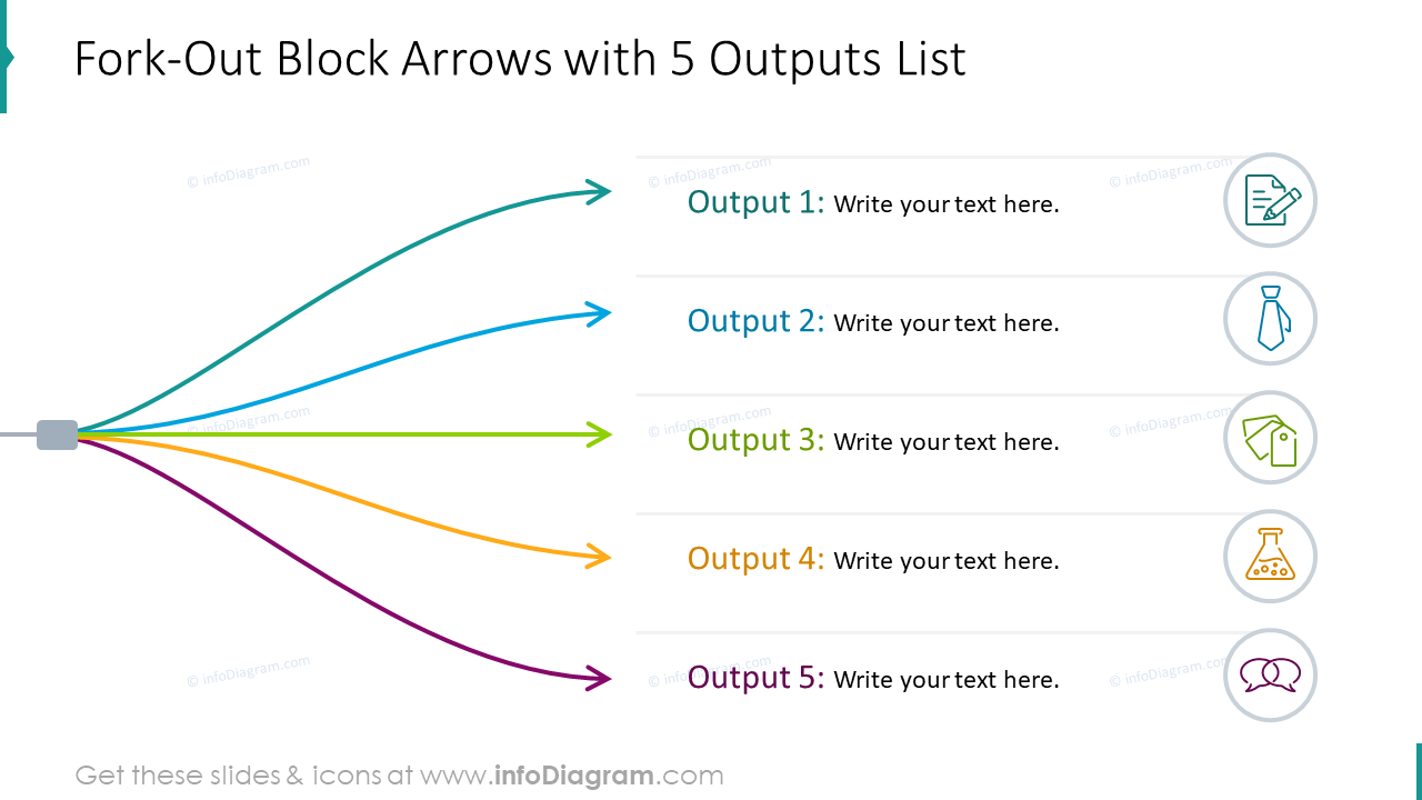 List for 5 outputs designed with fork-out block arrows