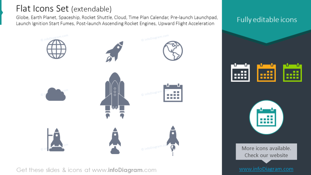 Flat Icons: Globe, Earth Planet, Spaceship, Rocket Shuttle, Cloud
