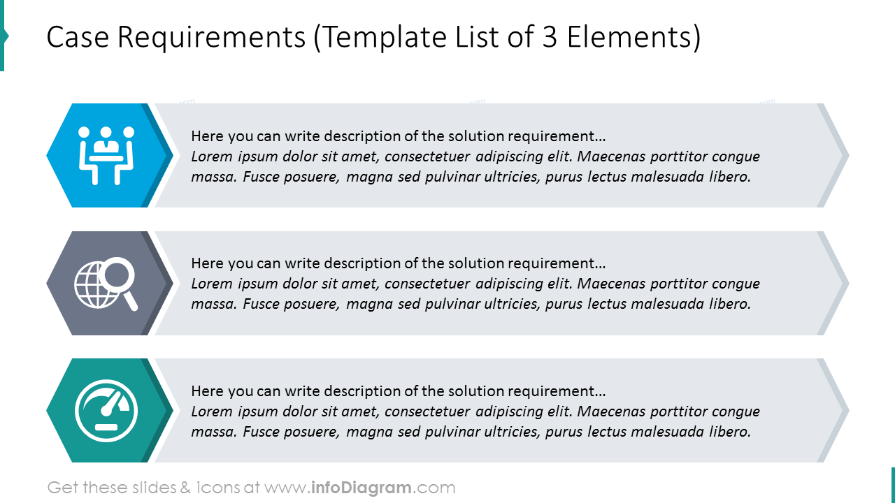 Case requirements list diagram with icons