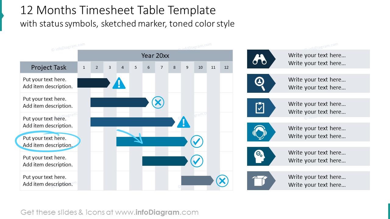 Twelwe months timesheet table example