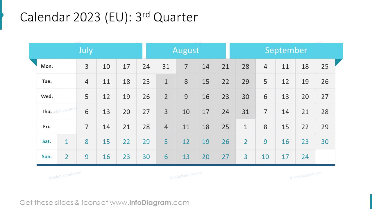 4th Quarter 2022 EU Calendars