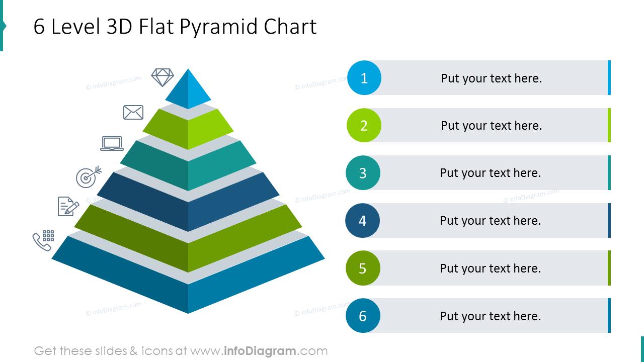 Six level 3D flat pyramid chart