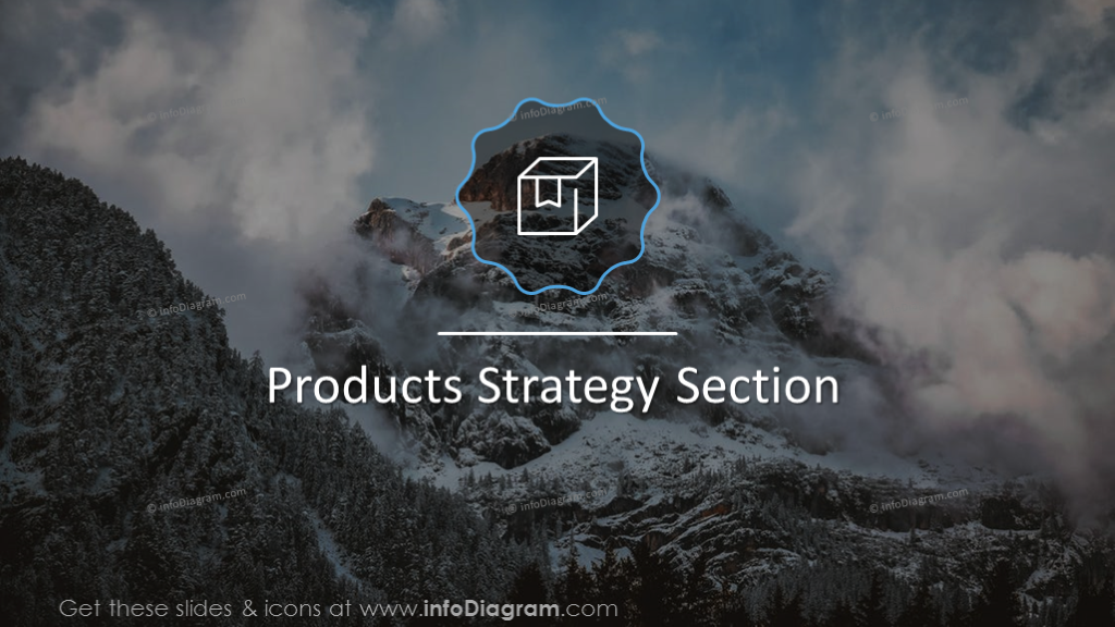 Product strategy section slide on a mountain background