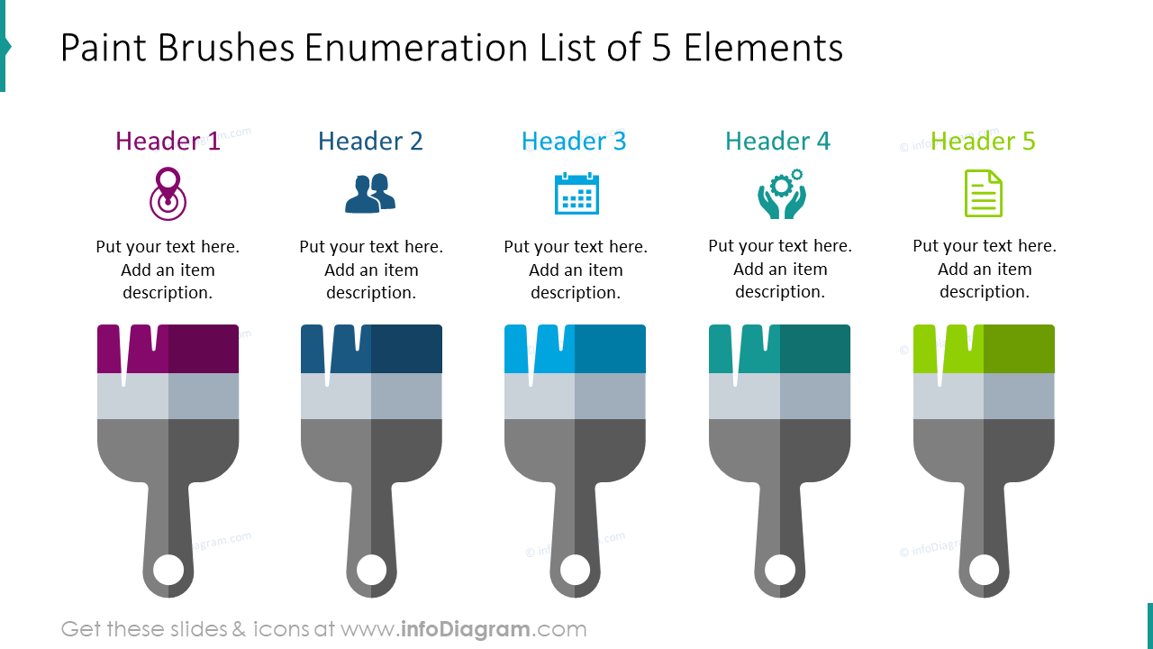 Paint brushes enumeration list for five elements