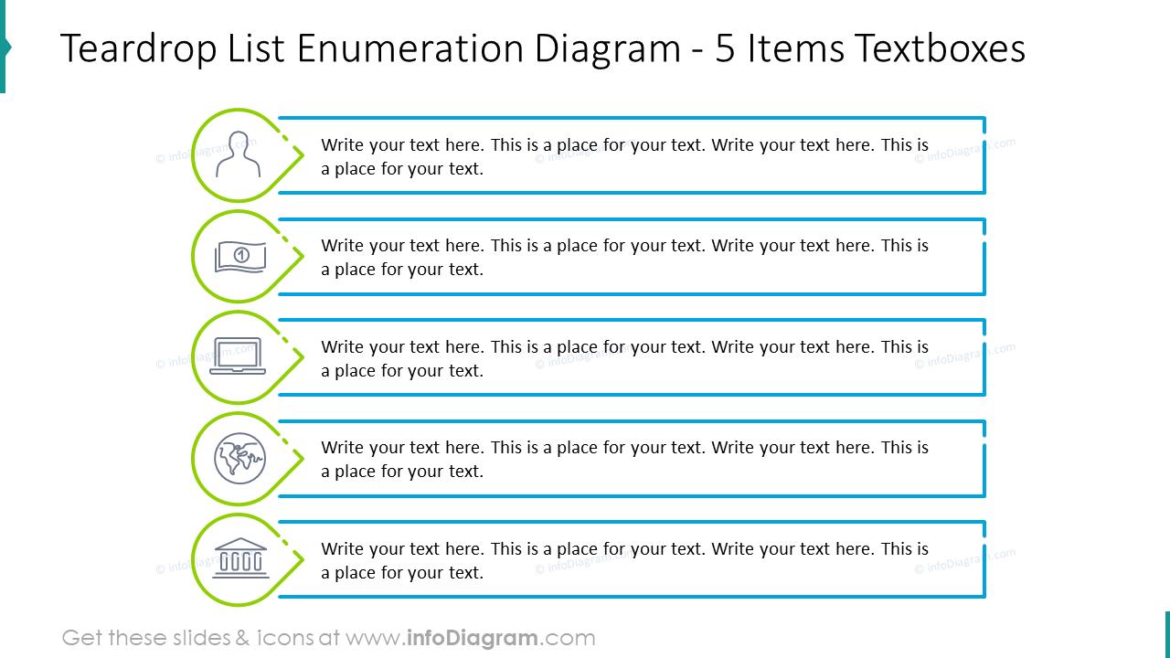 Teardrop list enumeration diagram for five items