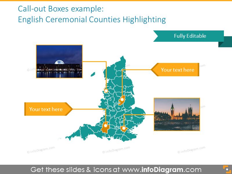 English ceremonial counties highlighting