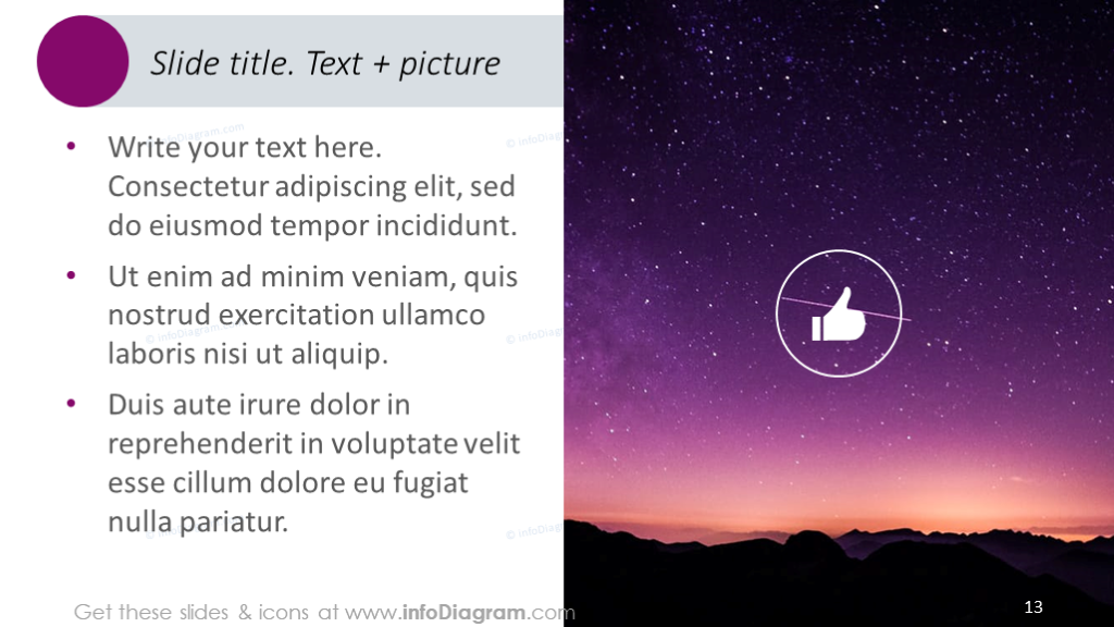 Slide template completed with text, icons and picture