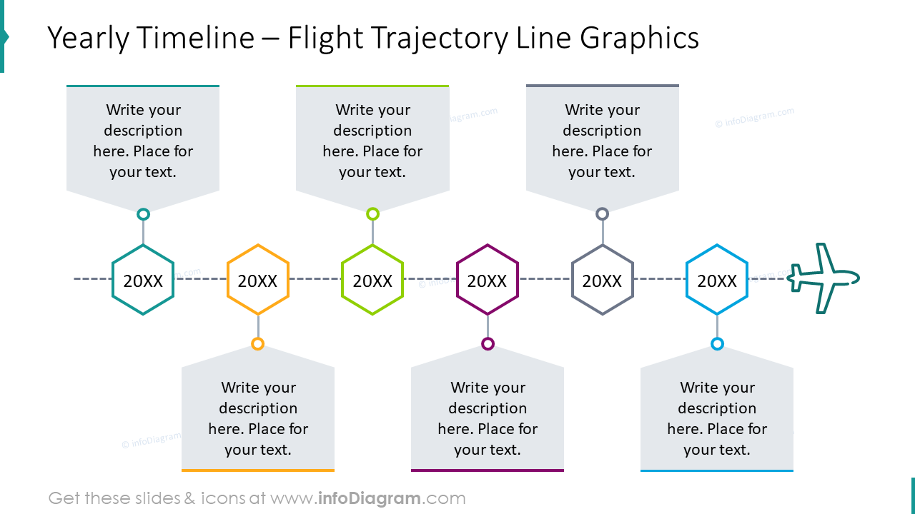 Yearly timeline with flight trajectory line graphics