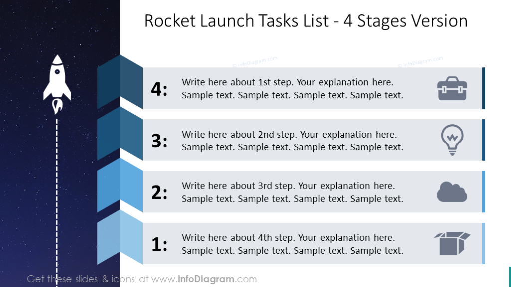 Four stages list with rocket launch graphics