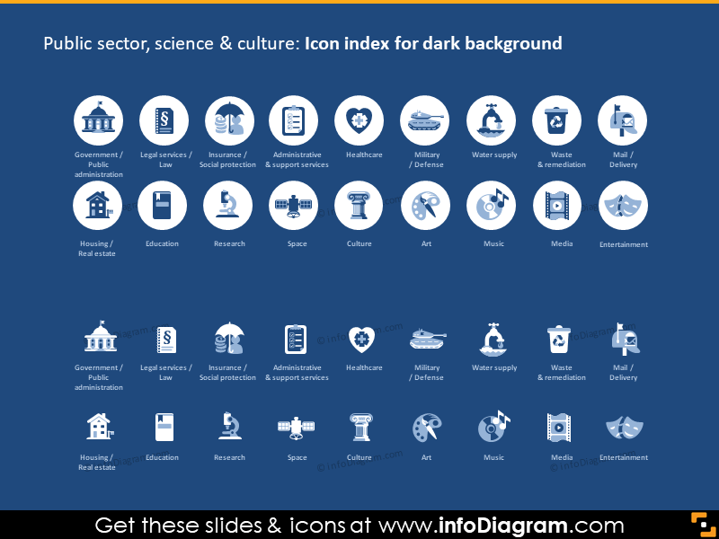 public gov sectors social services icons dark flat ppt icon