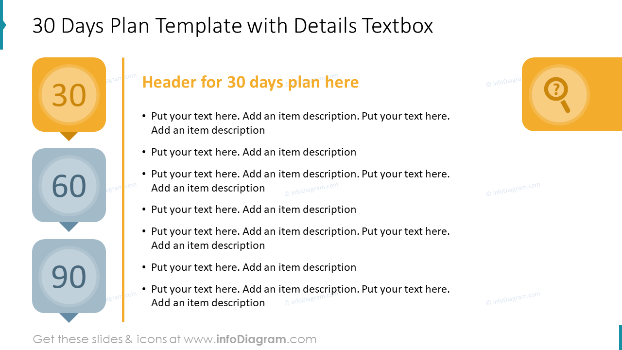 30 Days Plan Template with Details Textbox