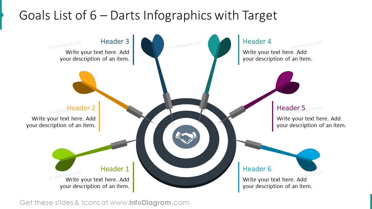 Goals list of six illustrated with darts infographics
