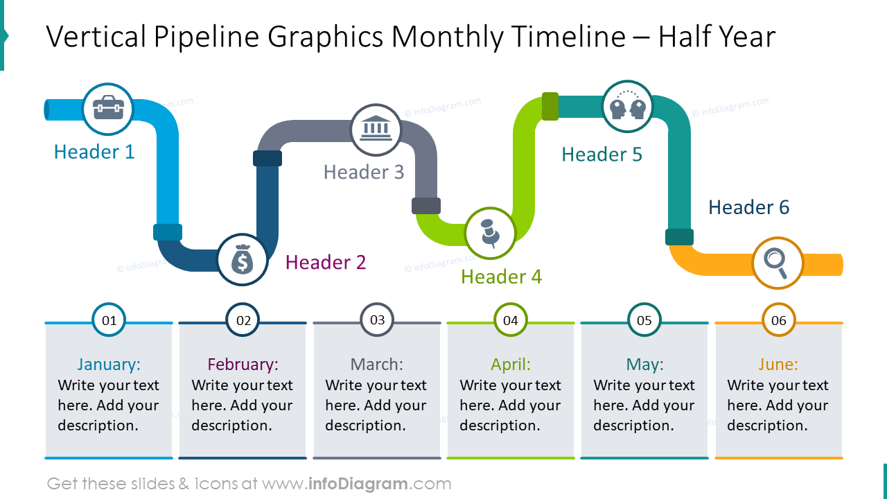 Vertical pipeline graphics monthly timeline