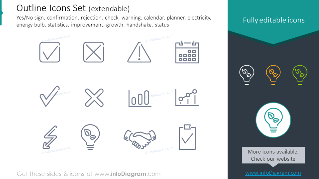 Outline Icons: confirmation, rejection, check, calendar, planner