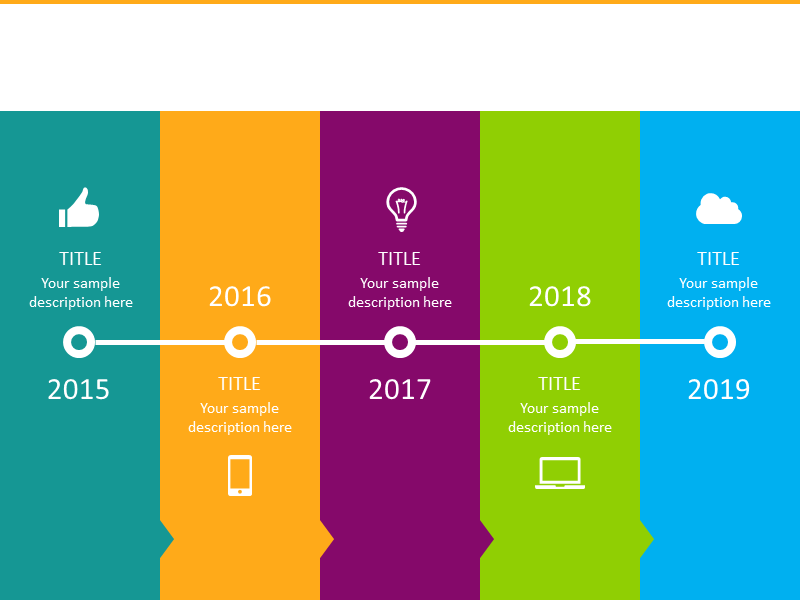 colored horizontal timeline diagram infographics